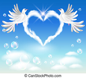 Two doves in the sky and cloud with heart-shaped