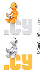 3d character sitting on .CY domain sign. Isolated on white