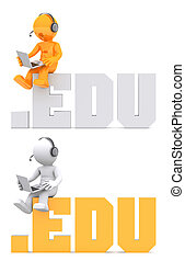 3d character sitting on EDU domain sign Isolated on white