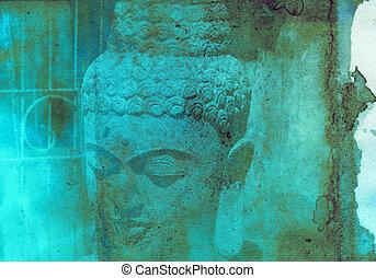 Grunge textured collage - Balinese God statue - Grunge...
