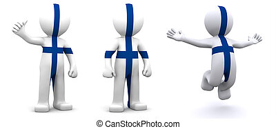3d character textured with flag of Finland