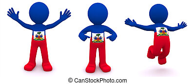 3d character textured with flag of Haiti isolated on white...