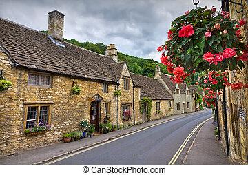 cabanas, castelo, Combe, Cotswolds, Reino Unido