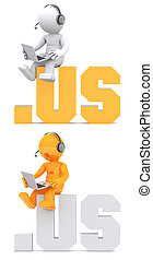 3d character sitting on .US domain sign.