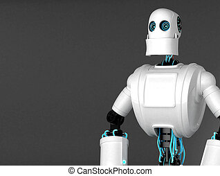 Standing Robot with dark blank background. Front view