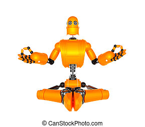 Orange robot in meditation pose. Isolated on white...