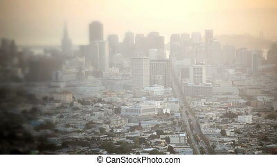 Downtown San Francisco, time lapse - Fog covered morning in...