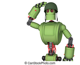 Robot soldier - Saluting Robot soldier. Isolated on white