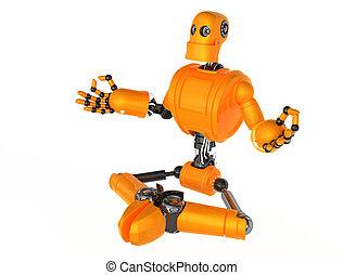 Robot meditating - 3d Robot meditating in lotus position....