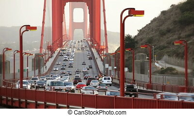 Golden Gate Bridge Time Lapse - Pedestrians walking and cars...