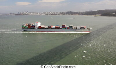 Cargo Ship - Container freight ship in the San Francisco Bay