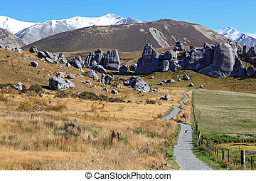 castle hill New Zealand - curve pathway to the mountain at...