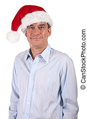 Smiling Handsome Man in Santa Hat