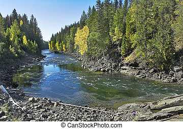 The fast mountain river. - The mountain river with the...
