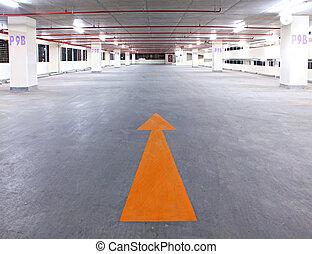 車庫, 空, 箭, 黃色, 停車處