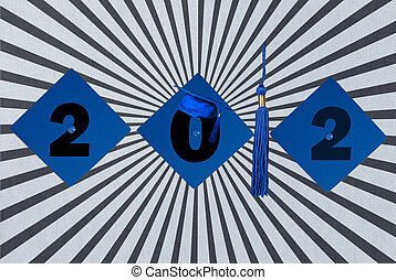 blue graduation caps - Blue graduation caps with tassel for...