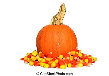 pumpkin in candy corn - Autumn pumpkin in candy corn.