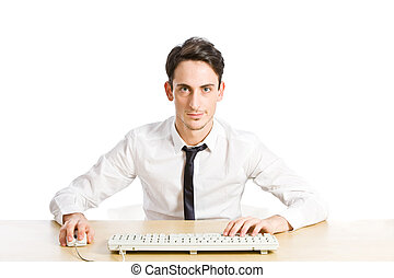 Chat - conceptual photo of chatting man on white background