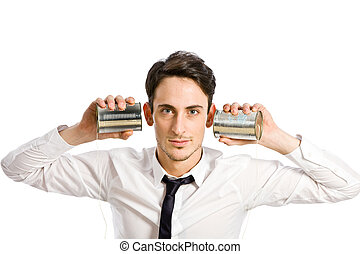 Conference Call - conceptual photo of man with two tin...