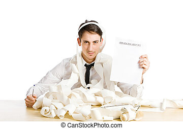 Financial Report - conceptual photo of man showing us his...