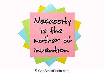 """texto, """", necesidad, madre, invención, """",..."""