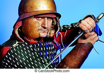 history - Portrait of a medieval male knight in armor over...