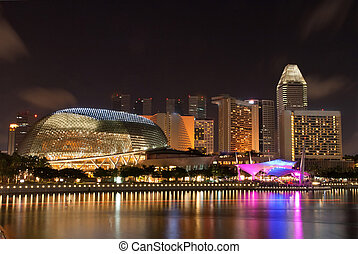 Esplanade Singapore skyscrapers and skylines building at...