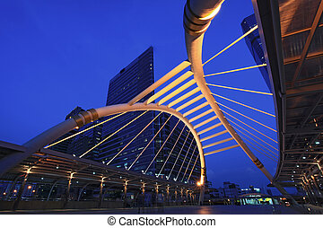 pubic skywalk bridge - pubic skywalk at bangkok downtown...
