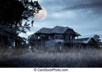 Haunted house - Haunted halloween house with full moon
