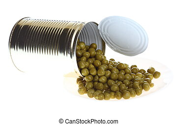 can with canned, tinned peas