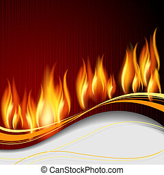 Background with flame and white wave.EPS10. Mesh.