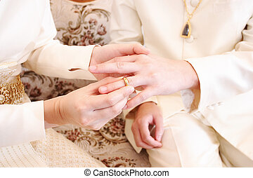 bride putting a wedding ring on groom 's finger