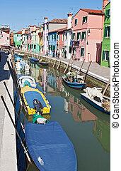 main canal in Burano Venice Italy