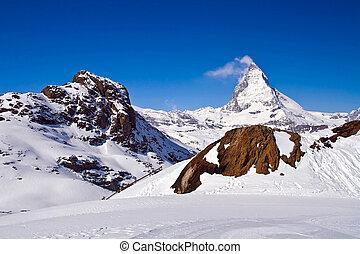 Matterhorn peak Alp Switzerland - Matterhorn, logo of...