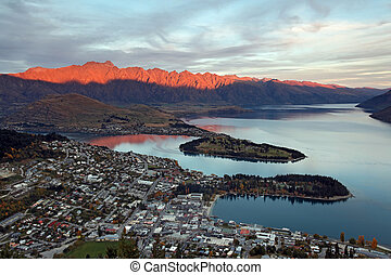 Cityscape of queenstown with lake Wakatipu from top at...