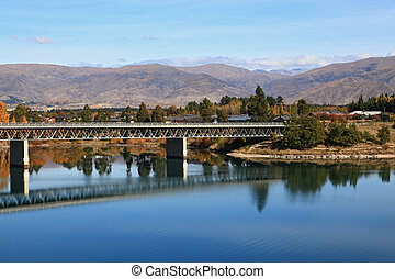 road bridge over dunstan lake near Queenstown New Zealand
