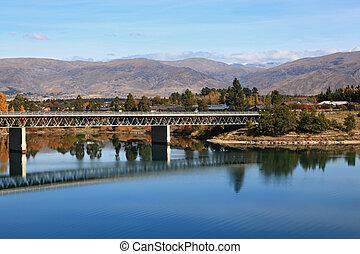 road bridge over dunstan lake near Queenstown New Zealand