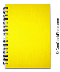 Yellow notebook on the white background