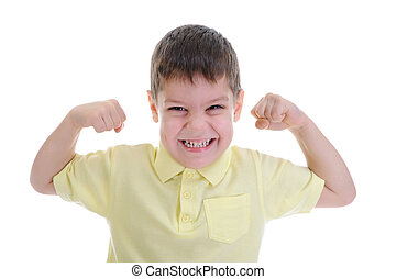 The boy shows his muscles Isolated on a white background