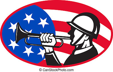 American soldier with bugle and flag - illustration of an...