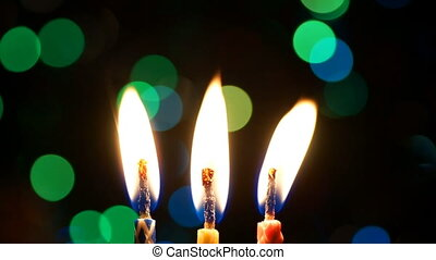 Candle lights with colored bokeh