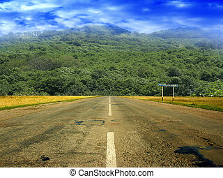 route and solar sky - summer day and road as travel...
