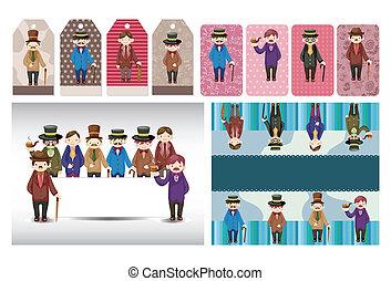 cartoon retro gentleman card collection