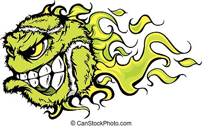 Tennis Ball Flaming Face Vector Ima