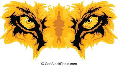 león, ojos, mascota, vector, gráfico