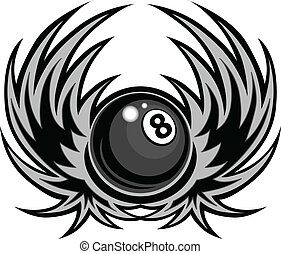 Billiards Eight Ball with Wings Vector Template