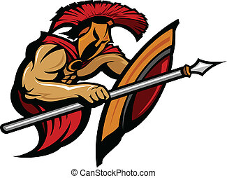 Spartan Trojan Mascot with Spear - Cartoon Graphic of a...