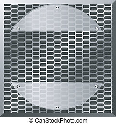 Vector illustration of a metal plate with oval glass elements