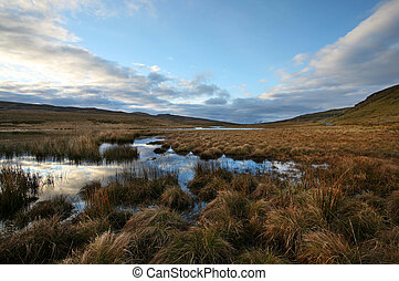 A remote fen on the Isle of Skye in the Outer Hebrides of...