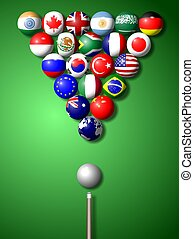 G20 billiard - Flags of G20 group members shaped and set as...